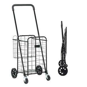 grocery Utility Shopping Cart Compact And Folding Portable With Wheels
