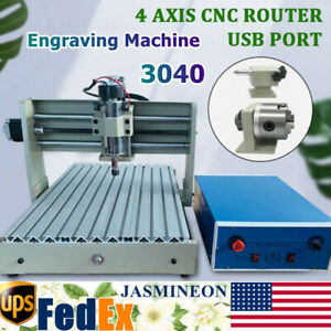 Cnc Router Engraving Machine Engraver 3040 4 Axis Wood Carving Milling Cutting