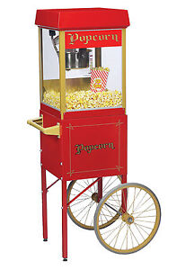 New Fun Pop 4 Oz Popcorn Machine Matching Cart By Gold Medal
