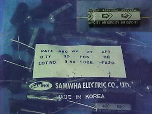 Samwha 22uf 450v 105 Degrees C Axial Mount Electrolytic Capacitors Lot 35