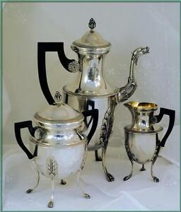 Coignet Massive Antique French Sterling Coffee Or Tea Service