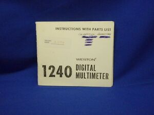 Weston 1240 Digital Multimeter Instructions Parts List