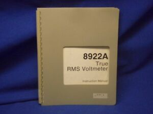 Fluke 8922a True Rms Voltmeter Instruction Manual