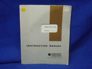 Kepco Model Jqe 36 15 m Instruction Manual