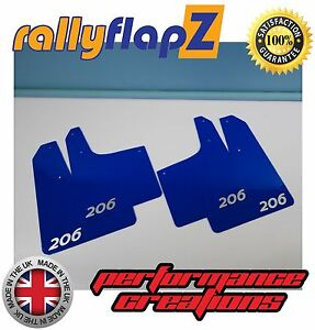 Rally Style Mudflaps Peugeot 206 Gti Mud Flaps 4mm Pvc Qty4 Blue Logo Silver
