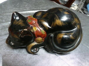 Kutani Black Cat Made In Japan Vintage Antique