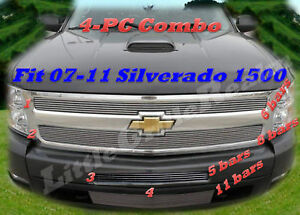 Billet Grille 4pc For 07 11 2011 2012 2013 2010 2009 2008 Chevy Silverado 1500