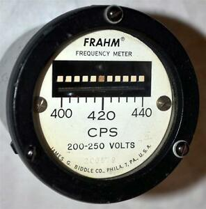 Frahm James G Biddle Co Frequency Meter Cps 200 250 Volts Analog Panel Meter