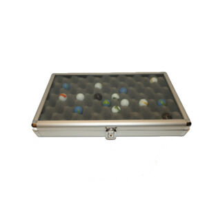 Small Portable Table Top Aluminum Display Case With Marble Foam Insert 14x8x2