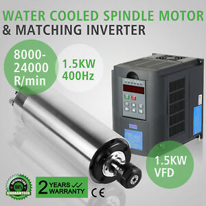 Cnc 65mm Er11 1 5kw Water Cooled Motor Spindle And Drive Inverter Vfd