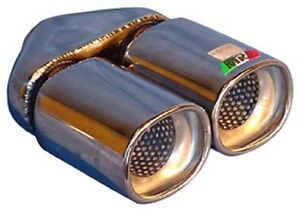 Twin Exhaust Tip Stainless Steel Double Skin 2 25 Inlet New A02 013