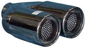 Twin 3 Exhaust Tip Stainless Steel Double Skin 2 25 Inlet New A01 063