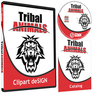 Tribal Animals Clipart vinyl Cutter Plotter Images eps Vector Clip Art Cd