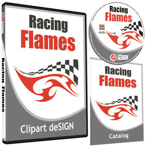 Racing Flames Clipart vinyl Cutter Plotter Images eps Vector Clip Art Cd