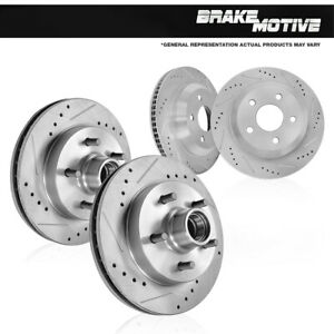 Front And Rear Drill Slot Brake Rotors For 1994 1995 1996 Chevy Impala Caprice