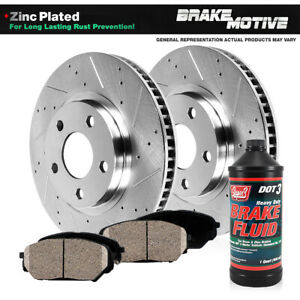 Front Drill Slot Brake Rotors Ceramic Pads For Ford F150 1997 2004 4wd 4x4