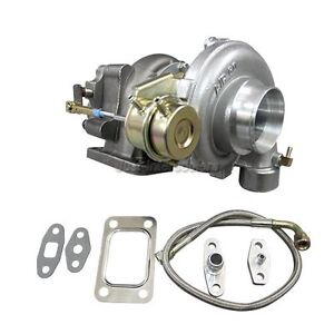 T3 Internal Wastegate Turbo Charger 0 48 Exhaust 0 60 Compressor W Oil Line Kit