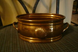 Vintage Brass Pot Tub W Shell Handles Made In India