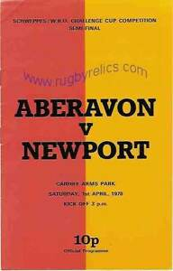 ABERAVON v NEWPORT 1978 WRU CHALLENGE CUP COMPETITION SEMI FINAL RUGBY PROG GBP 6.99