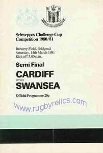 CARDIFF v SWANSEA 1981 SCHWEPPES CHALLENGE CUP COMPETITION SEMI FINAL RUGBY PROG GBP 5.99