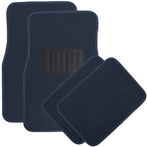 Car Floor Mats For Auto 4pc Carpet Semi Custom Fit Heavy Duty W Heel Pad Blue