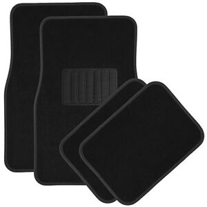 Car Floor Mats For Auto 4pc Carpet Semi Custom Fit Heavy Duty W heel Pad Black