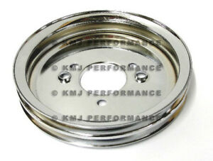 Bbc Chevy Chrome Crank Pulley Double 2 Groove For Short Water Pump 396 427 454