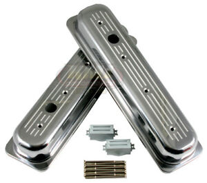 Chevy 5 7l Ball Milled Polished Aluminum Centerbolt Short Valve Covers Sbc 350