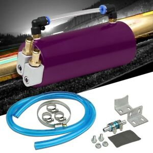 Purple Universal Aluminum Racing Oil Catch Tank Round Can Reservoir Turbo Engine