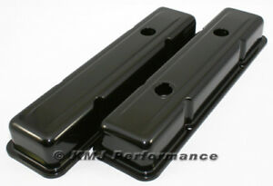 Sbc Chevy 350 Black Short Steel Valve Covers W Oil Cap Hole 283 305 327 400