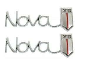 Us made 1966 67 nova Chevy Ii Rear Quarter Emblem Pair New Trimparts 66 67