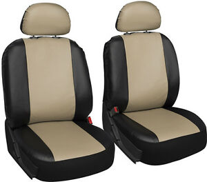 Faux Leather Suv Van Truck Seat Cover Black Tan 6pc Bucket W Head Rests