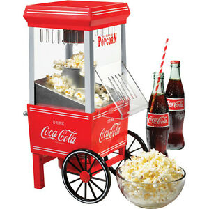 Coca Cola Hot Air Popcorn Maker Machine Mini Countertop Retro Pop Corn Popper