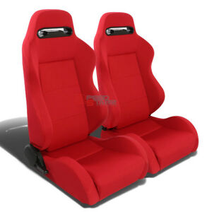 Red Type R Cloth Sport Fully Reclinable Racing Bucket Seats Adjustable Sliders