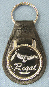 Vintage Black Buick Regal Eagle Logo Black Leather Usa Key Ring Key Fob