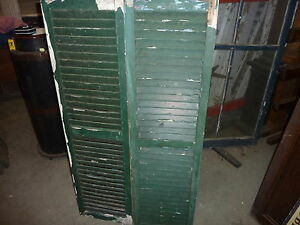 Pair Antique C1940 S Louvered House Window Shutters Dark Green 53 X 14 25