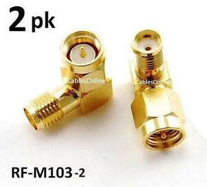 2 pack Sma Male To Female Right Angle 90 degree Adapter W Gold Plated Contacts
