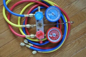 Manifold Gauge 5ft Hose Set For R22 R134a R404a Alloy Body Ac Hvac Charging Tool