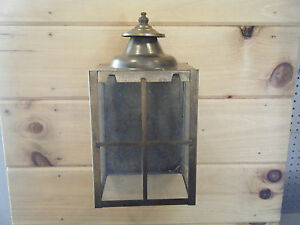 Nib Vintage Solid Brass Light Fixture Sconce Wall Porch 70s Antique Patina 511