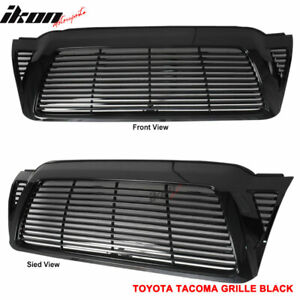 Fits 05 11 Toyota Tacoma Front Hood Grill Grille Horizontal Unpainted Black Abs