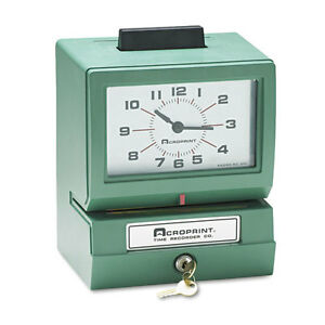 Acroprint Model 125 Analog Manual Print Time Clock W date 0 23 Hours minutes Ea