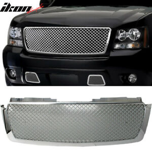 Fits 07 14 Tahoe Suburban Avalanche Mesh Chrome Bumper Cover Hood Grille Grill