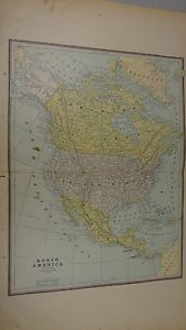 1887 Crams Map Of North America Alaska Polar Region Canada