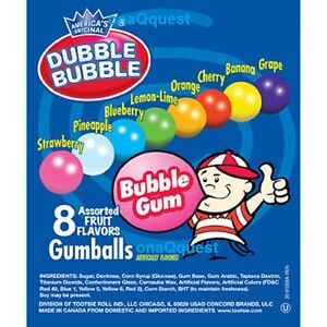 Dubble Bubble 850 Gumballs Vending Candy 1 nom Gumball Assortd Fruit Bulk Double