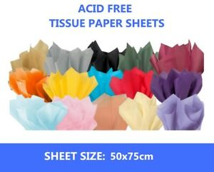 Luxury Tissue Paper 18gms Acid Free 100 Large Sheets 50x75cms Select Colour
