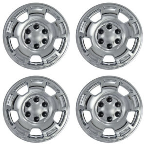 4 Silverado Tahoe Chrome 17 Wheel Skins Hub Cap Covers Fit 5 Spoke Aluminum Rim