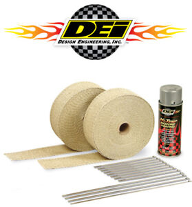 Dei 010112 Exhaust Header Downpipe Heat Wrap Kit Tan Aluminum Silicone Spray
