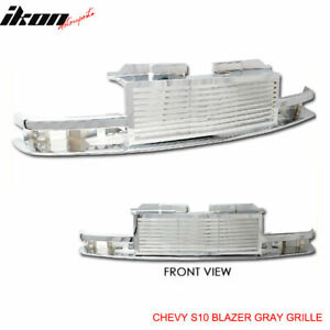 Fits 98 05 Chevy S10 Blazer Billet Style Horizontal Chrome Hood Grille Abs