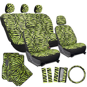 21pc Green Zebra Print Car Seat Covers Set Floor Mats Steering Wheel Cover Pad