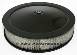 14 Round Black Air Cleaner Assembly Recessed Dropped Base W 3 Filter